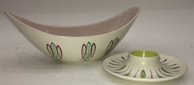 Poole Pottery Freeform PK pattern boat shaped small vase together with a small freeform egg cup (2)
