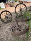 OLD CAST WHEELS AND FRAME