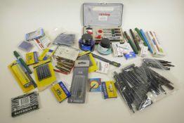 A quantity of pen collector's ephemera including nibs, ink, pens etc
