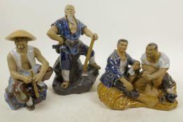 """Three Chinese, Shiwan style, mud men figures of resting workmen, largest 9½"""" high"""
