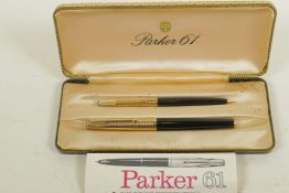 A boxed Parker 61 'Consort' fountain pen and matching propelling pencil