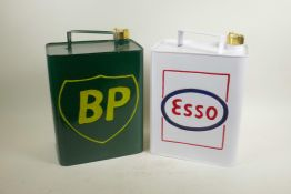 """Two enamelled metal petrol cans, 12"""" high"""