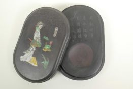 A Chinese boxed inkstone with an engraved inscription, the cover with inset figural decoration,