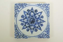 """A Chinese blue and white porcelain pottery tile with Yin Yang decoration, 8"""" x 8"""""""