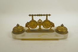 """A French ormolu and alabaster desk stand, 13"""" x 5"""""""