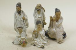 """Five small Chinese, Shiwan style, mud men figures, largest 4½"""" high, one A/F"""