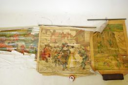 Three vintage educational scrolls, 'A London Street before the Great Fire', and two 'Life of Other