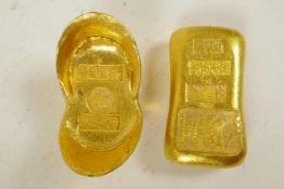 """Two Chinese gilt metal ingot weights impressed with calligraphy, 2¼"""""""