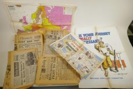 A quantity of WWII era newspapers and three posters
