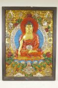 """A Sino-Tibetan painted composition panel depicting a Buddhist thangka, 22"""" x 29½"""", A/F"""