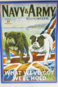 """A replica metal advertising sign, Navy and Army illustrated, 19½"""" x 27½"""""""