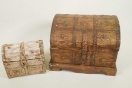 """Two metal bound dome top jewellery caskets with antiqued patination, largest 10"""" wide"""