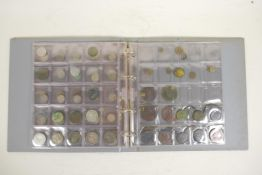 A collection of assorted mid C20th and earlier coinage including some silver, cartwheels etc, in a