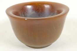"""A Chinese faux horn bowl with four character mark to base, 4"""" diameter"""