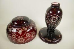 "A Bohemian flash cut ruby over clear glass table lamp and mushroom shade, 12"" diameter"