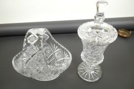 """A lead crystal fruit basket, 10"""" wide, together with a lead crystal sweet jar and cover"""