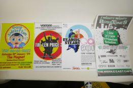 Eight indie music gig posters etc, to include Frank Sidebottom, the Mighty Mighty Bosstones, the