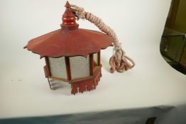 """An Oriental painted wood hanging lantern with glass panels, A/F, 18½"""" diameter"""