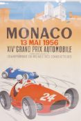 After J. Ramel, a poster for the 14th Monaco Grand Prix, 1956, reprinted by Arte Paris for the Musee