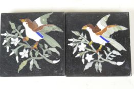 """A pair of C19th pietra dura tiles decorated with birds on flowering branches, 4"""" square"""