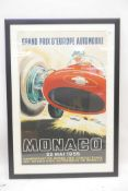 After J. Ramel, a poster for the 13th Monaco Grand Prix, 1955, reprinted by Arte Paris for the Musee