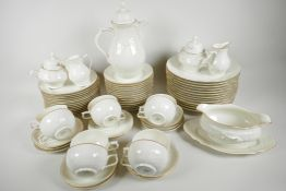A Rosenthal 'Classic' part dinner and tea service with cream glaze and embossed decoration