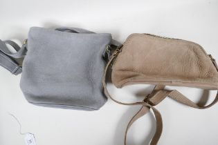A 'Coach' nubuck cowhide leather handbag in grey, and another in taupe