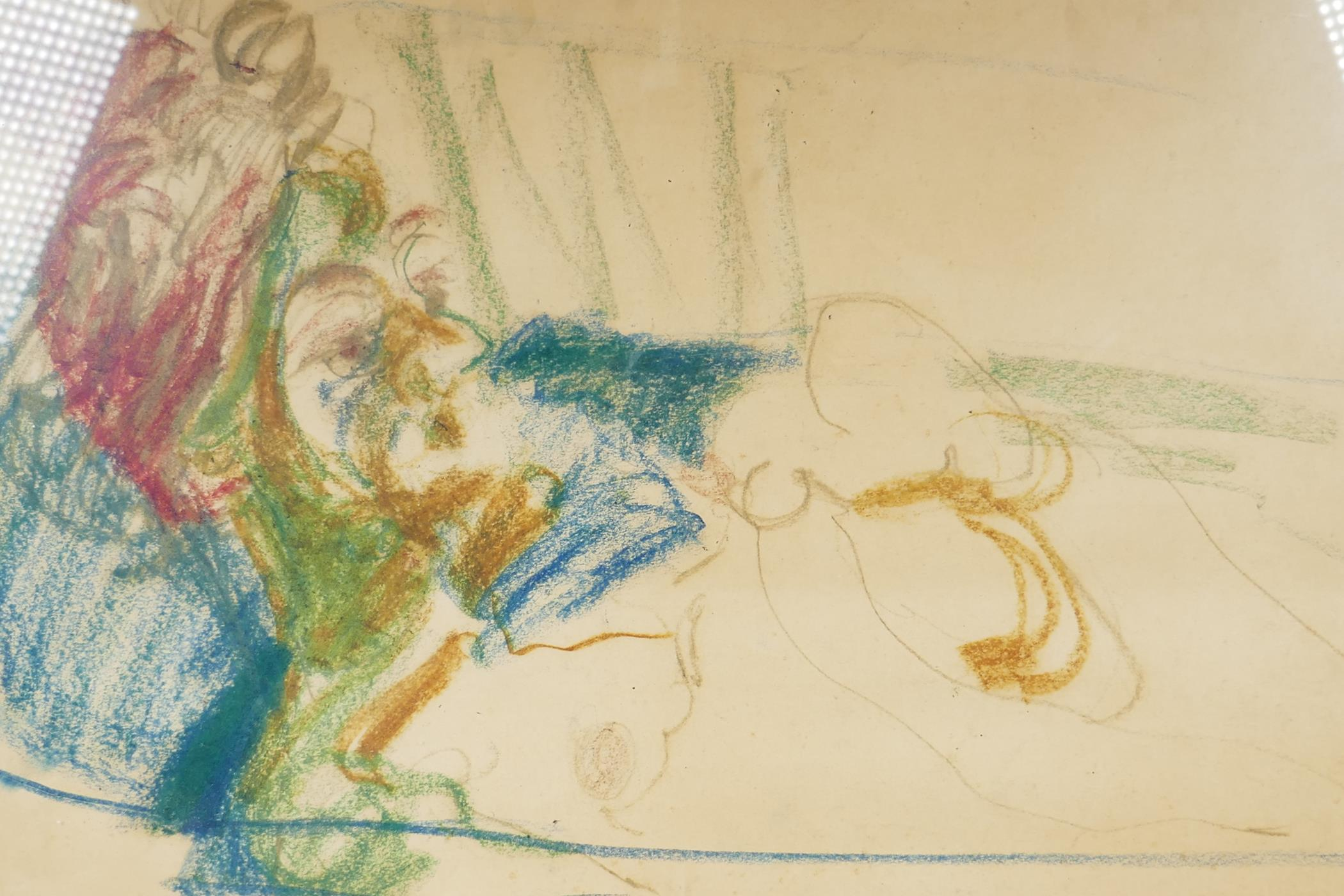 """A stylised chalk and pencil sketch of a female nude in a bath, 27½"""" x 16"""""""
