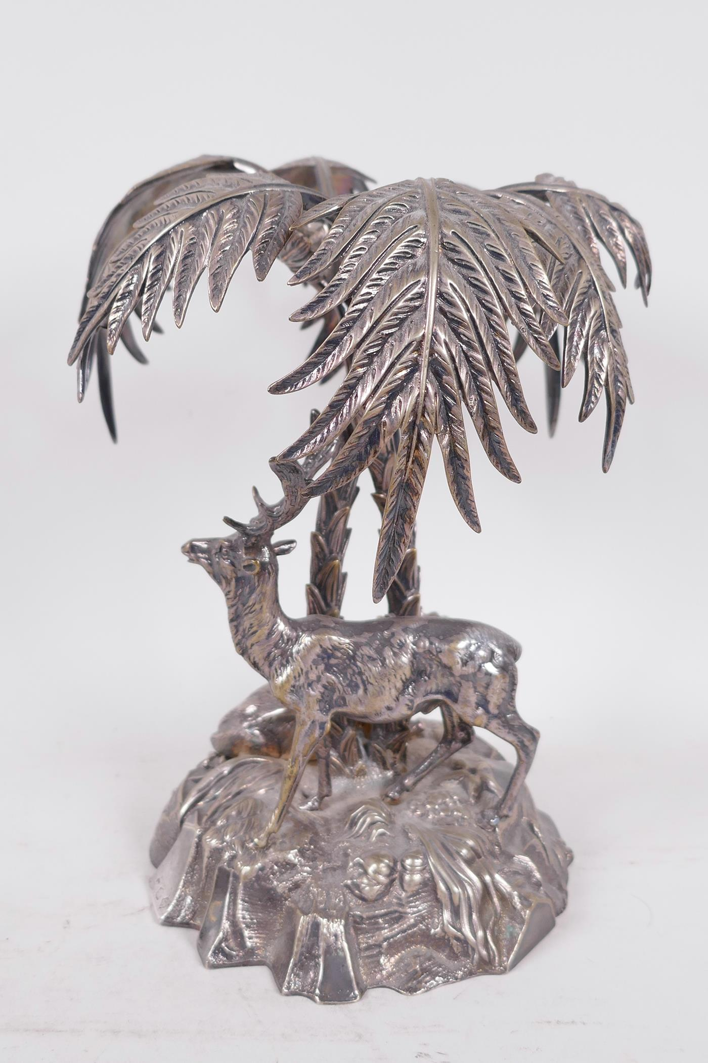 A C19th silver plated table centrepiece formed as deer under a palm tree by Thomas Bradbury and - Image 3 of 6