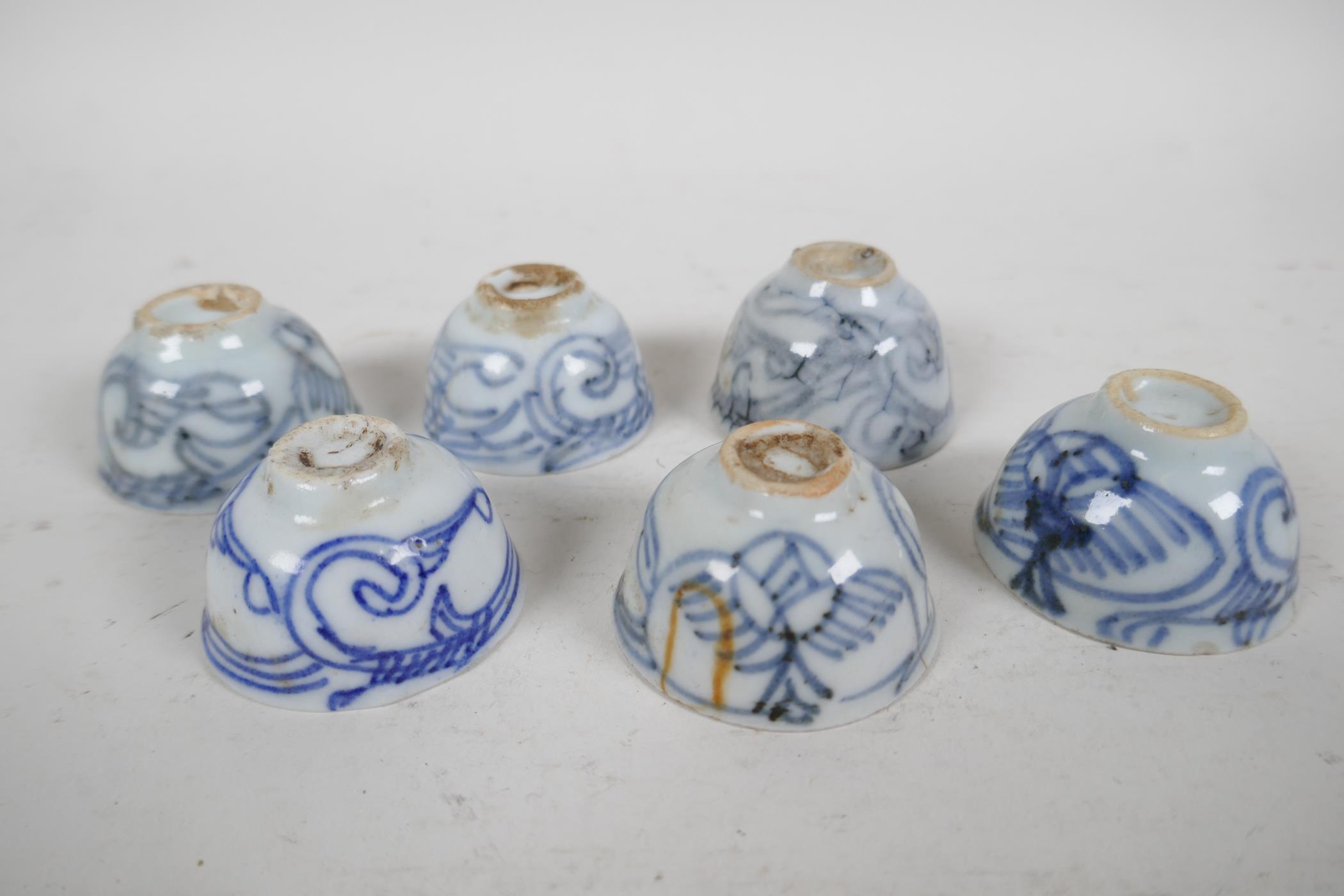 """Six Chinese antique blue and white wine/tea cups, 1½"""" diameter - Image 3 of 3"""