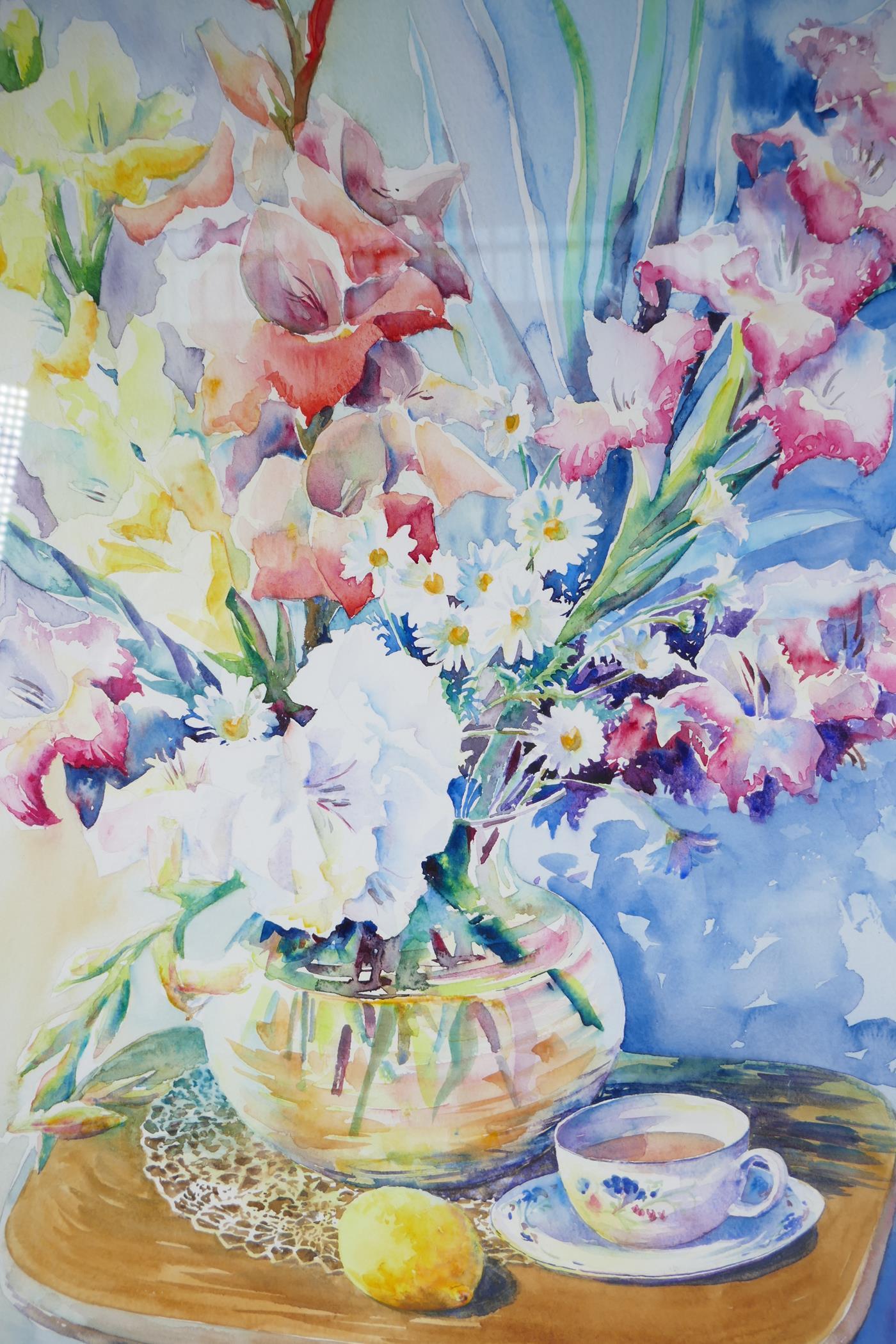 "Karen Pearson (British, b.1961), 'Lemon Tea', signed lower left and labelled verso, watercolour, 20"""