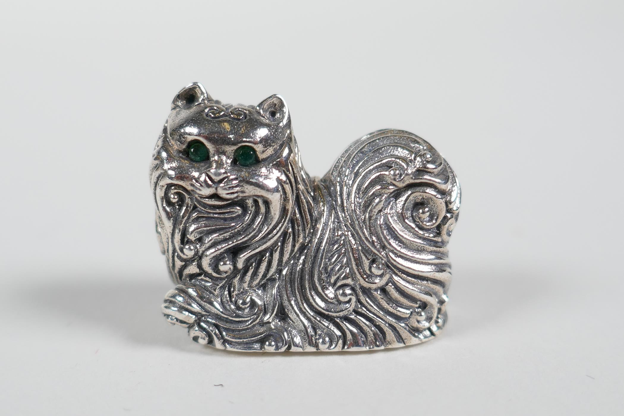 """A sterling silver miniature figure of a long haired cat, 1"""""""