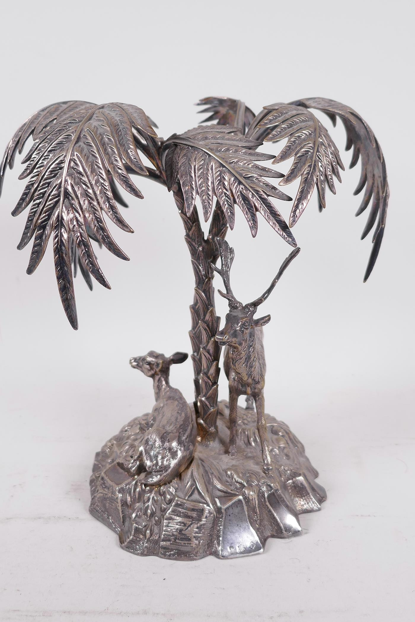 A C19th silver plated table centrepiece formed as deer under a palm tree by Thomas Bradbury and - Image 4 of 6