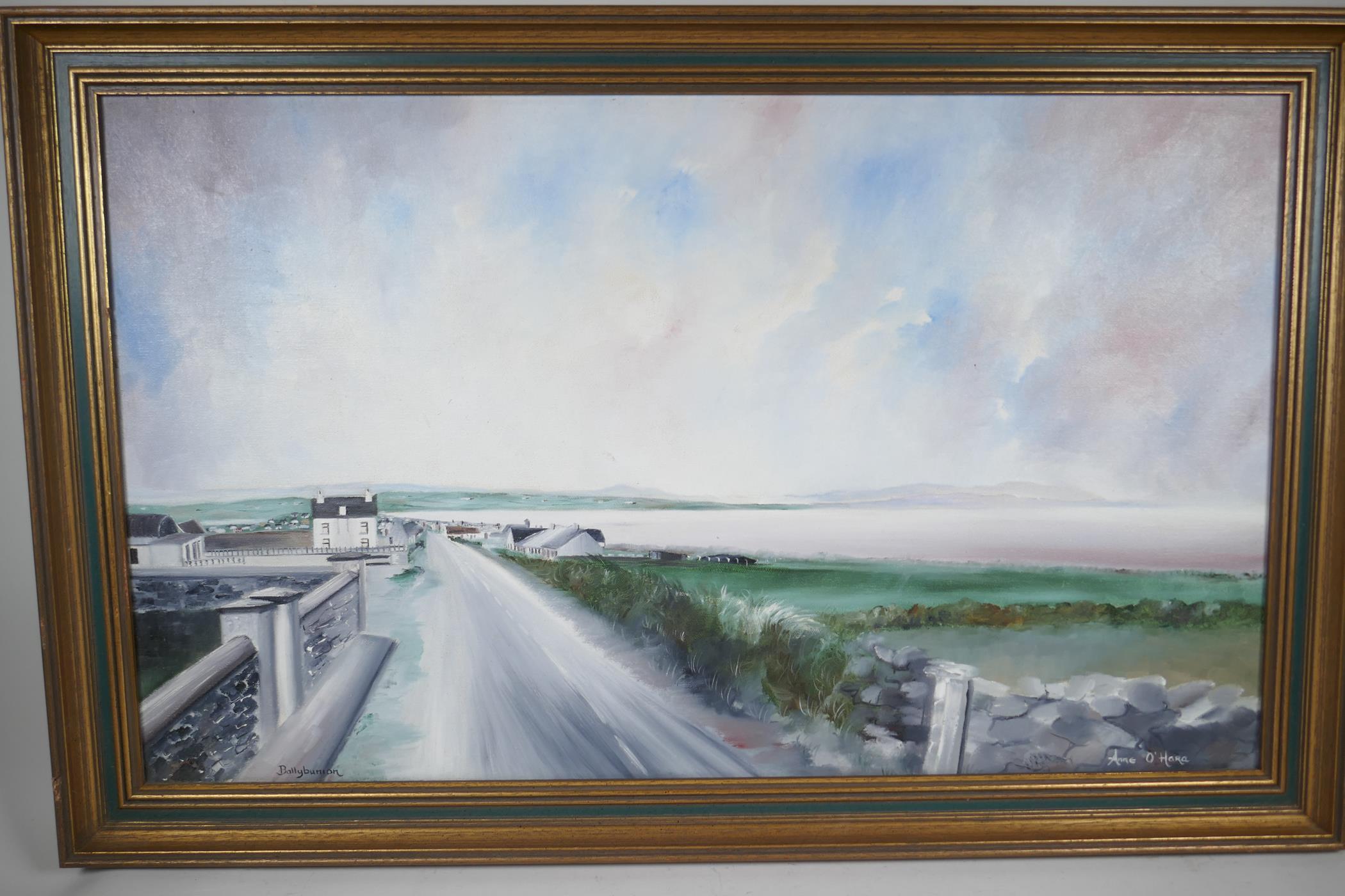 "Anne O' Hara, Irish coastal landscape, titled 'Ballybunion', signed, oil on canvas, 30"" x 18"" - Image 3 of 5"