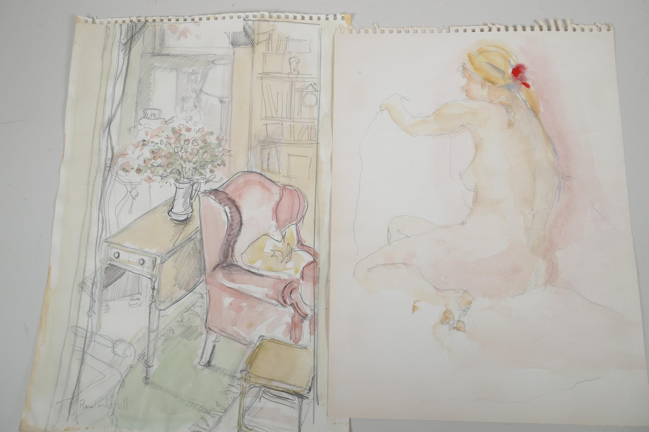 Two unframed watercolour and pencil drawings, interior scene and female figure study, one signed