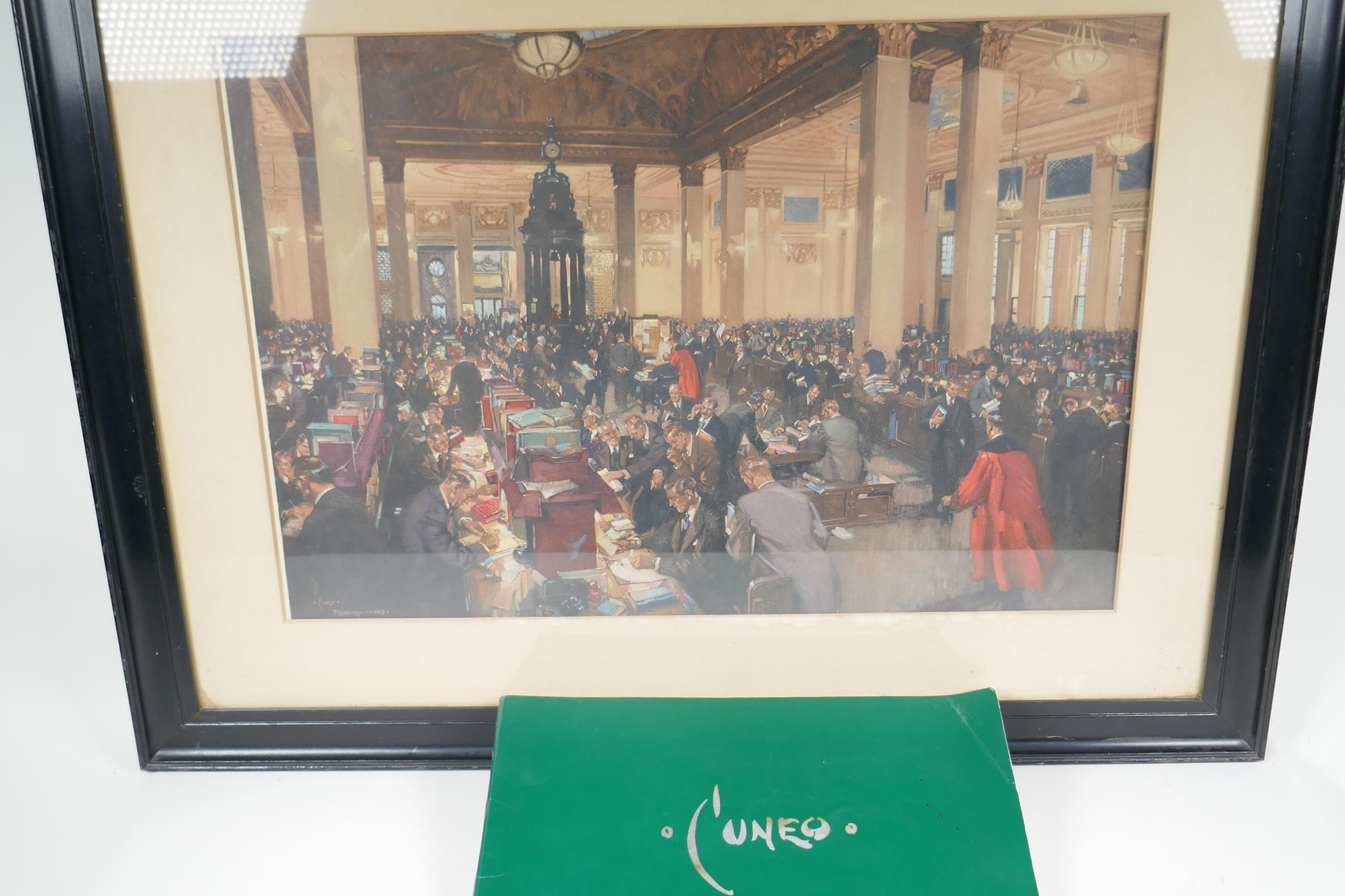 """Terence Cuneo, colour print 'The underwriting room at Lloyds', 23"""" x 20"""", together with an - Image 4 of 7"""