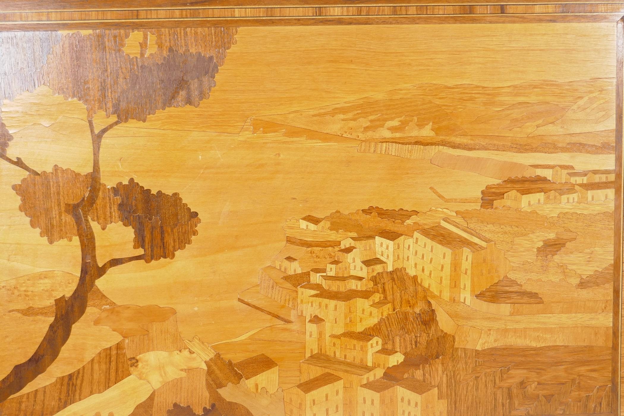"""A Sorrento wood panel with inlaid decoration of an Italian cliffside village, 23½"""" x 16"""" - Image 2 of 2"""