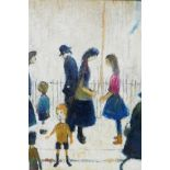 """After Lowry, figures passing in a street, oil on board, 12"""" x 16"""""""