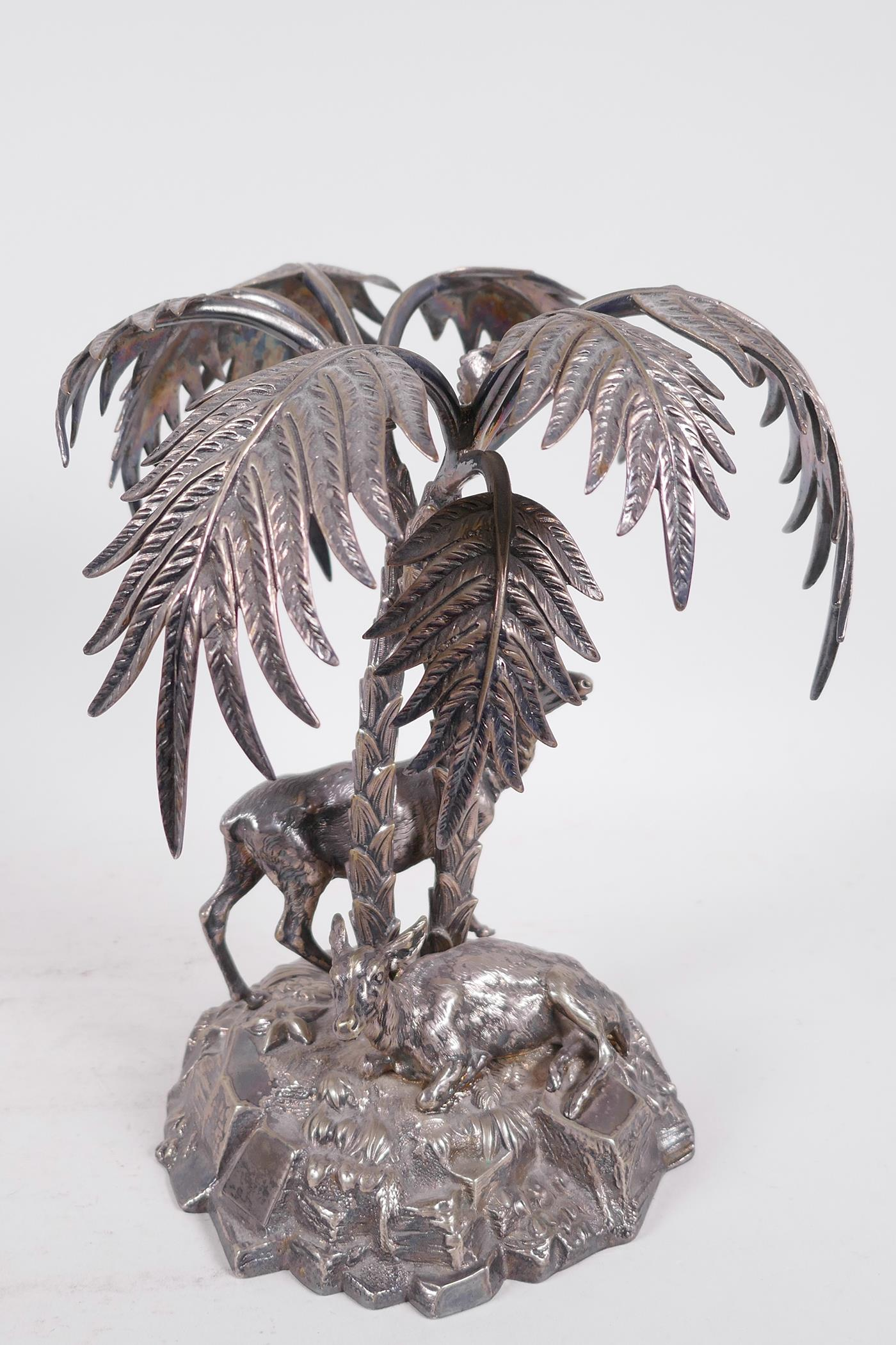 A C19th silver plated table centrepiece formed as deer under a palm tree by Thomas Bradbury and - Image 5 of 6