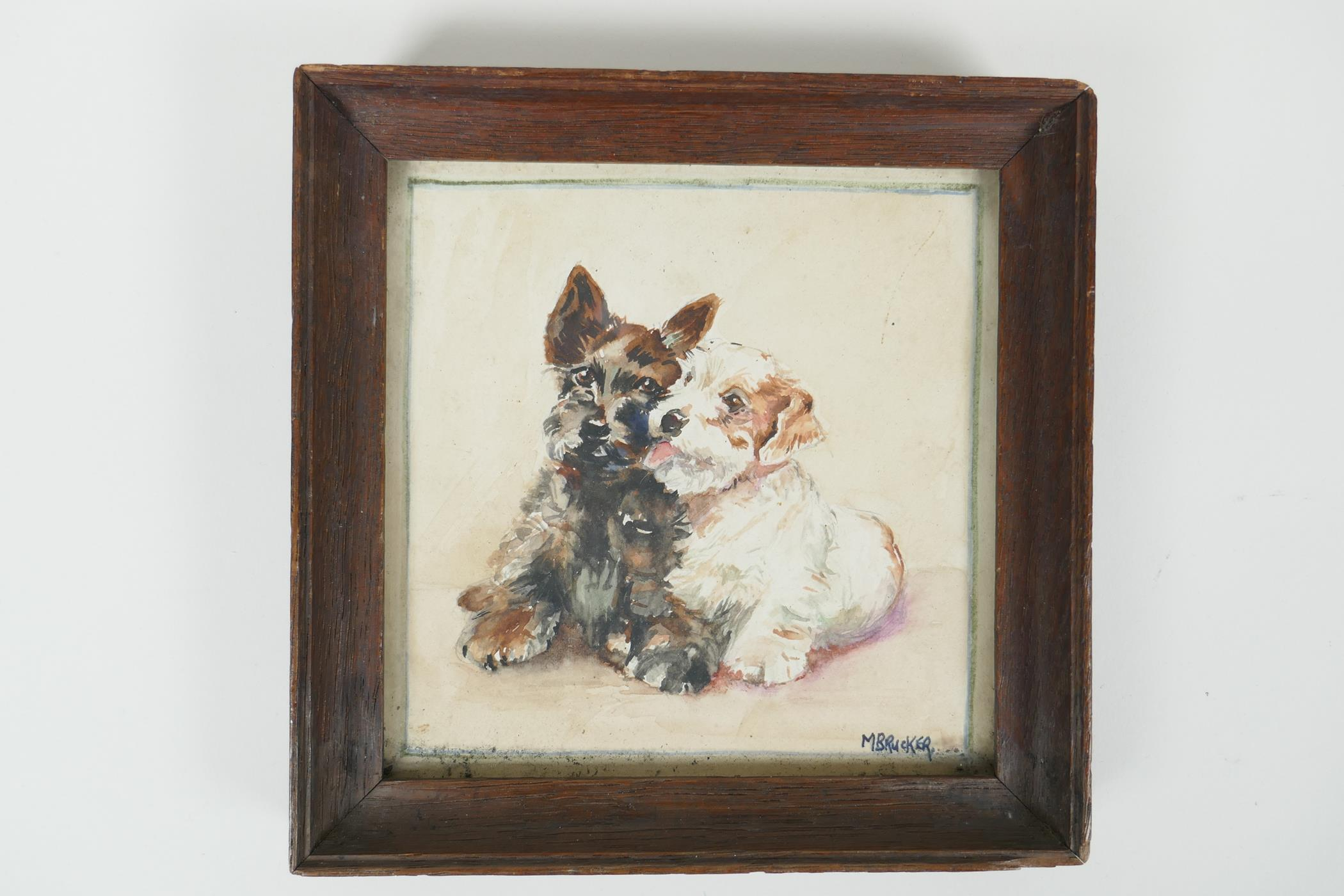 """M. Brucker, small watercolour of two dogs, signed, 5"""" x 5"""" - Image 3 of 4"""