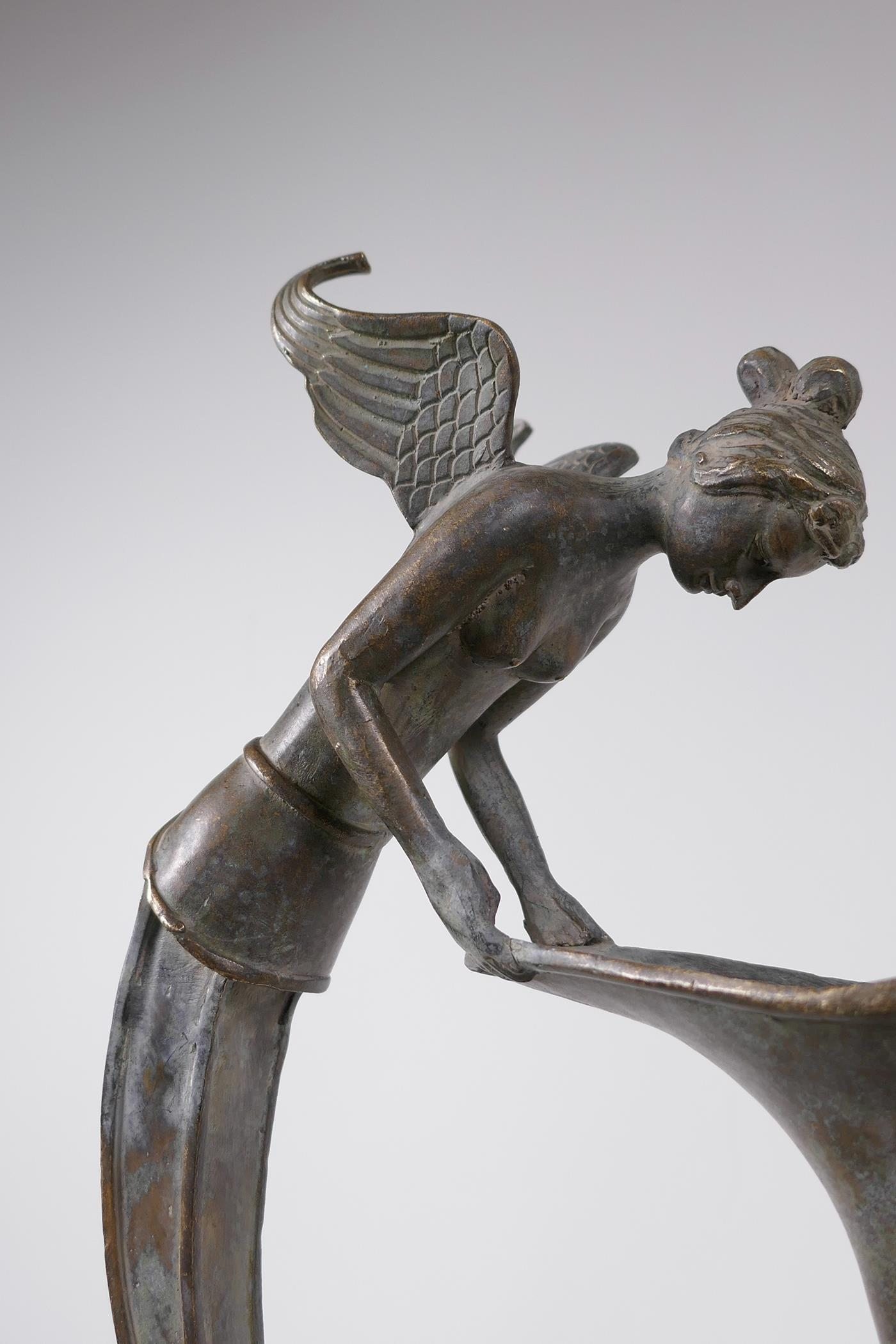 """A Greco-Roman style bronze urn, the handle decorated with the bust of a siren, 18½"""" high - Image 3 of 5"""