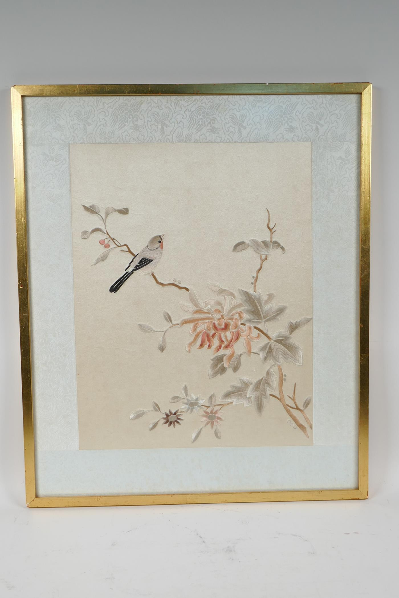 """A Chinese silk embroidery depicting birds on a branch in bloom, 10½"""" x 13"""" - Image 2 of 2"""