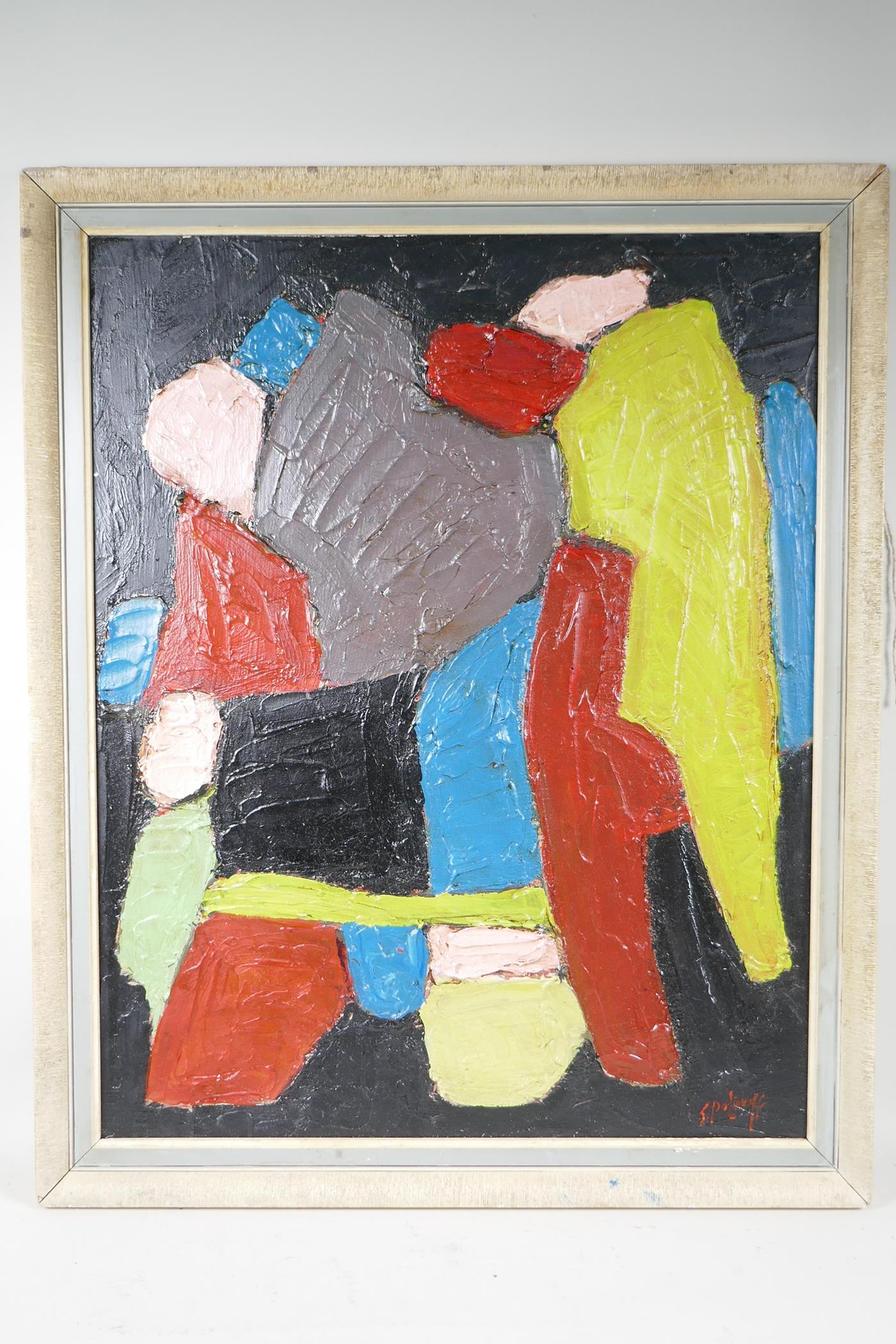 """After Serge Poliakoff, abstract, oil on board, 20"""" x 25"""" - Image 2 of 4"""