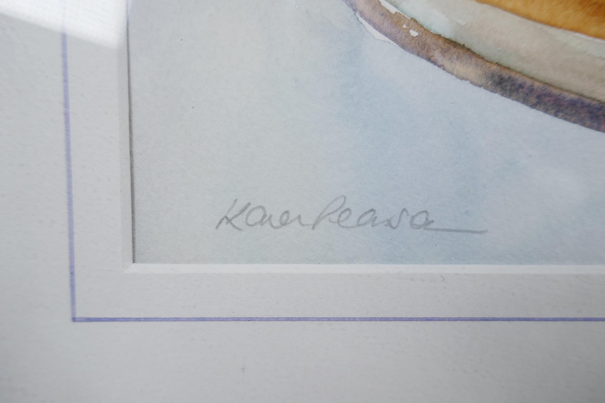 "Karen Pearson (British, b.1961), 'Lemon Tea', signed lower left and labelled verso, watercolour, 20"" - Image 5 of 7"