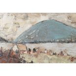 """Irish landscape with figures on a lakeside, signed P. French, impasto oil on board, 24"""" x 12"""""""
