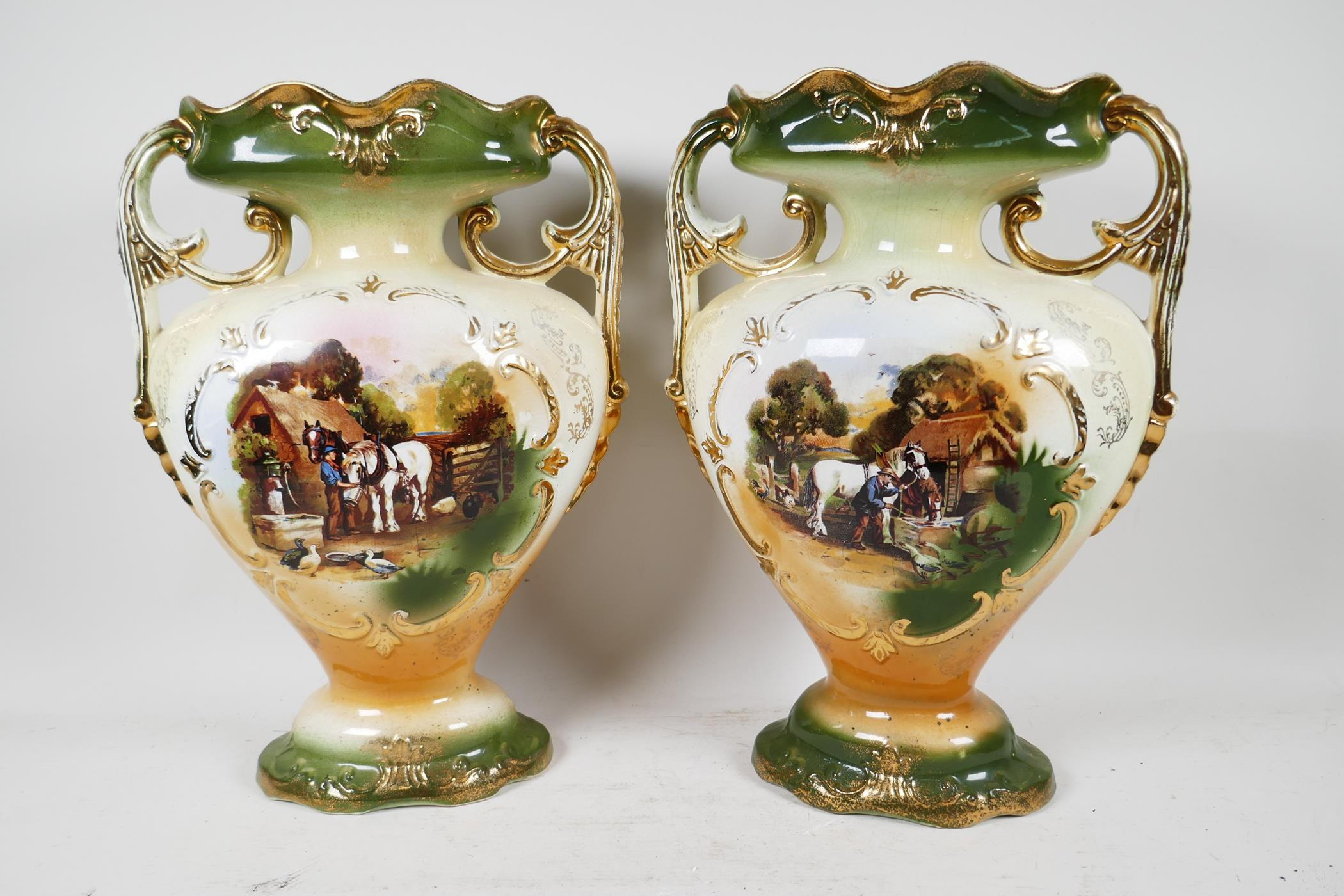A pair of C19th two handled mantel vases transfer printed with scenes of working horses in a