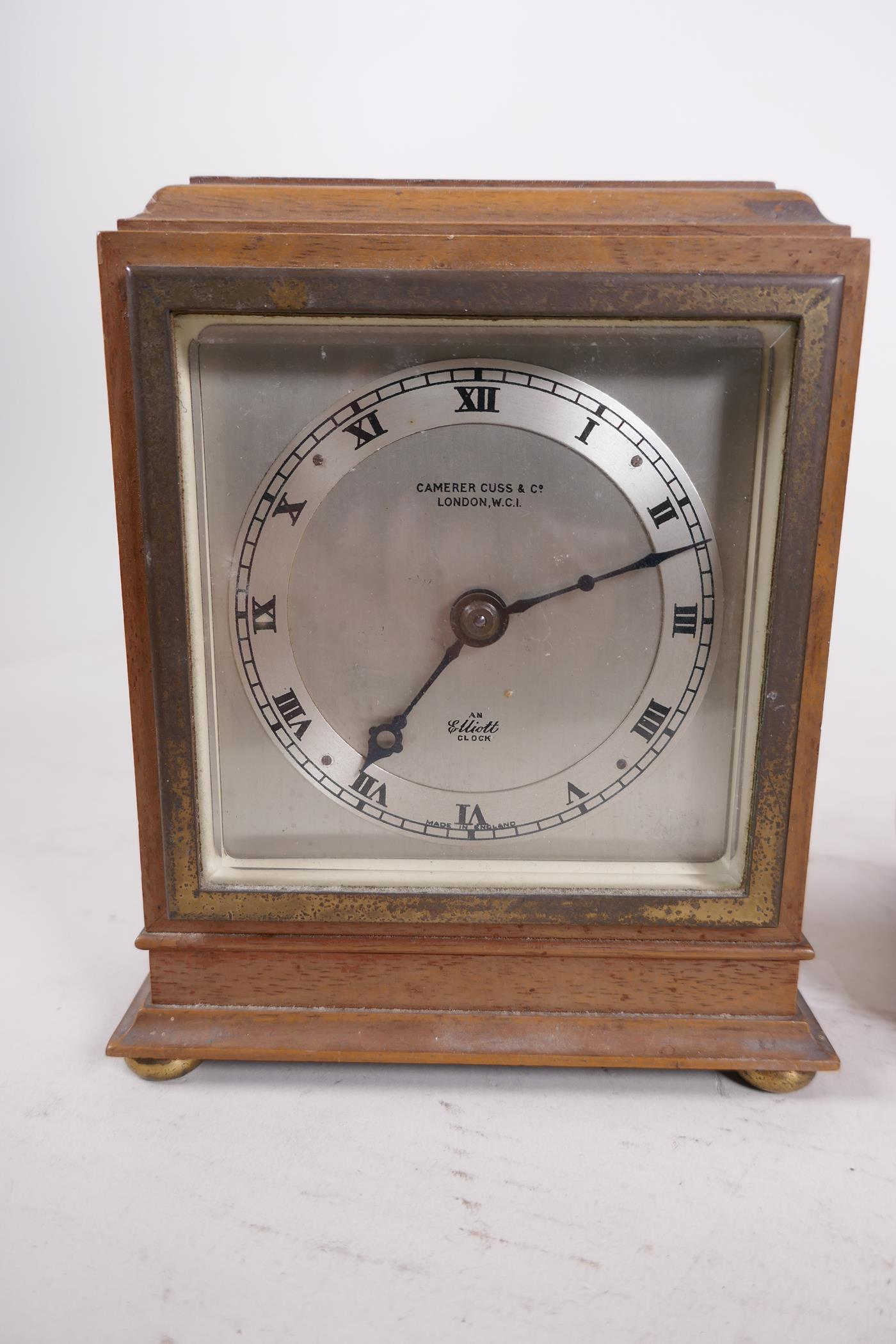 A Carrera Cuss walnut cased mantel clock, the silvered dial and chapter ring with Roman numerals and - Image 2 of 4