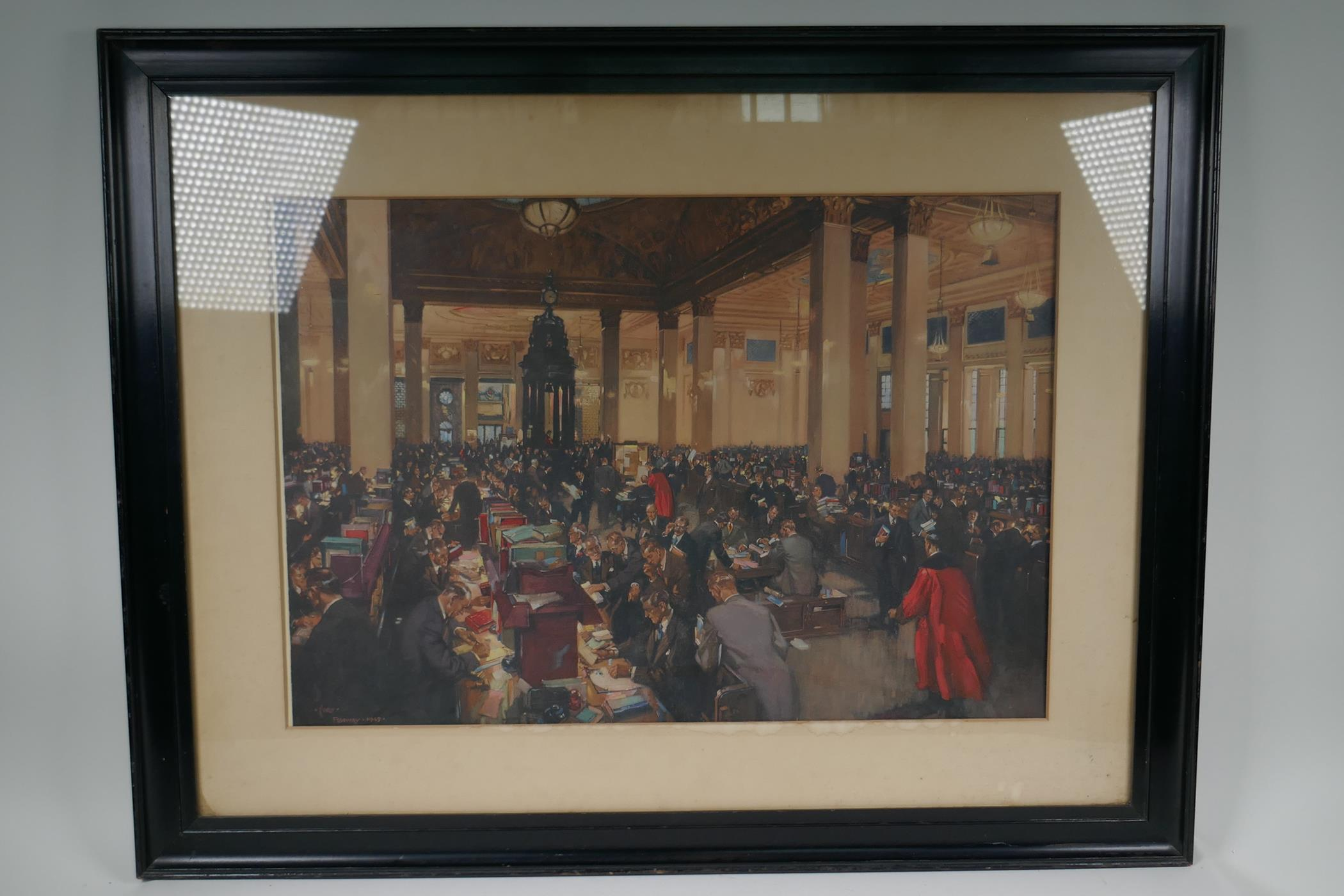 """Terence Cuneo, colour print 'The underwriting room at Lloyds', 23"""" x 20"""", together with an - Image 3 of 7"""