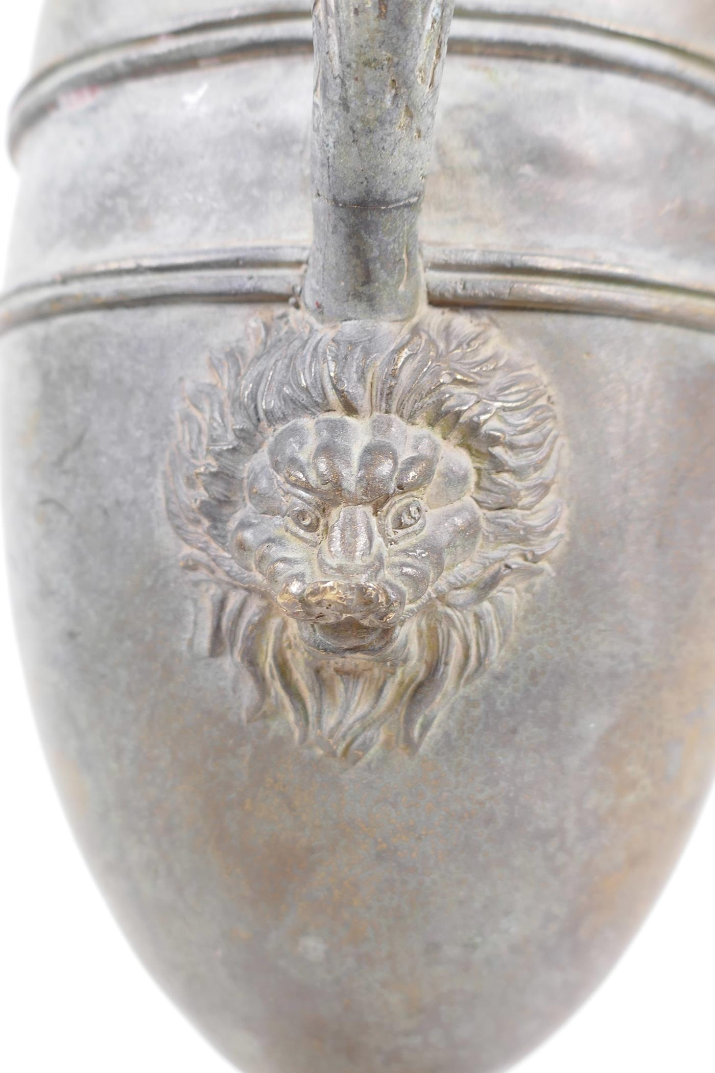 """A Greco-Roman style bronze urn, the handle decorated with the bust of a siren, 18½"""" high - Image 4 of 5"""