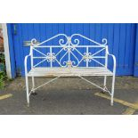 """A painted metal two seater garden bench, 45"""" x 17"""", 37"""" high"""